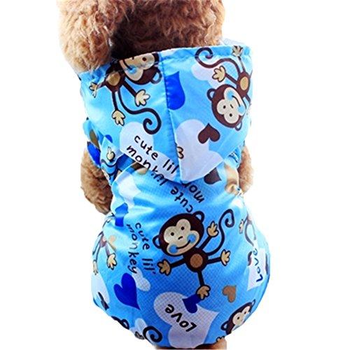 Moolecole Cartoon Affe Haustier Hundemantel Regenmantel Hunde Vier Beine Bekleidung Wasserdicht Hundejacke Wintermantel Hoodie Regenjacke Blau XXL