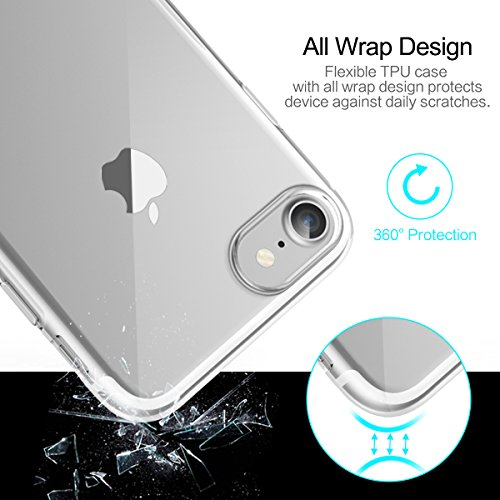 aitalk Rock TPU Kickstand Case for iPhone 7/7 Plus/7 Pro Case Ultrathin 0,6 mm Silicone Crystal Back Cover for iphone7 trasparente