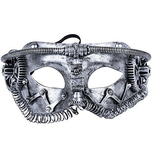 Kapmore Mens Maskerade Maske Griechische Römische Party Karneval Halloweenmaske (one size, PKF-001 Silver)