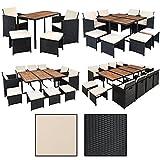 ESTEXO Polyrattan Sitzgruppe für 8 Personen, Farbe Schwarz, Garten Lounge aus Rattan, Gartenmöbel Set mit 8 Sitzplätzen