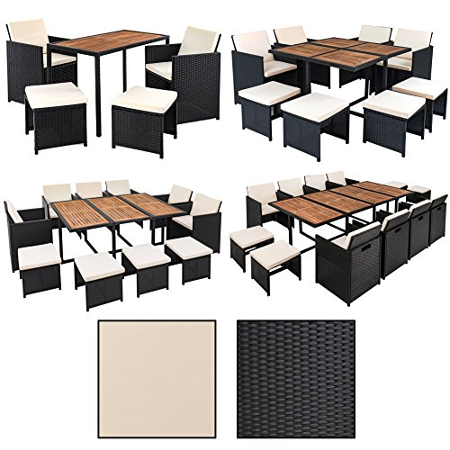 Estexo® Polyrattan Sitzgruppe für 8 Personen, Farbe Schwarz, Garten Lounge aus Rattan, Gartenmöbel Set mit 8 Sitzplätzen