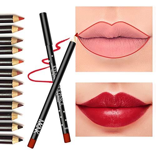 Symeas 12 Pcs Crayon À Lèvres Ensemble Durable Étanche Non-Dizzy Teint Lèvres Crayon À Lèvres Eyeliner Crayon