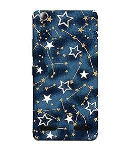 PrintVisa Designer Back Case Cover for Lenovo A6000 :: Lenovo A6000 Plus :: Lenovo A6000+ (Dark Blue Little Stars Wall Paper Poster)