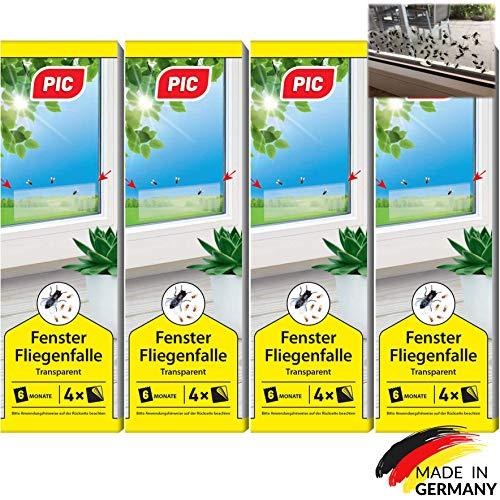 PIC - Fenster-Fliegenfalle - 16 Stück - Giftfreie, Geruchlose Leimfalle zum Fangen von Fliegen und Fruchtfliegen