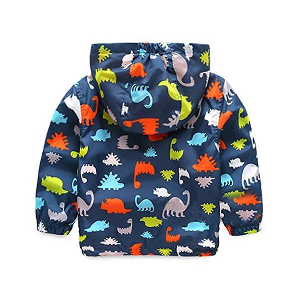 HARVEY JIA - Chaqueta Corto de Bebés Niños con Capucha Mentener Calor Abrigo de Niñas con Estampado Dinosaurio de Otoño… 2