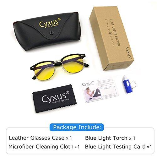 Cyxus Blue Light Filter [Anti Eye Fatigue] Self-rim Computer Glasses,  Unisex(Mens/Womens) UV Blocking Radiation Reader Strain Safety Retro Round  Half