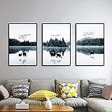 QRY Nordic Elk Lake Acqua Albero Uccello Trittico Pittura Decorativa Cornice Nera Parete Calda Pittura Animale Murale 30 * 40 CM HD Micro Spray Semplice e Moderno Casa Soggiorno Divano Hotel vita feli