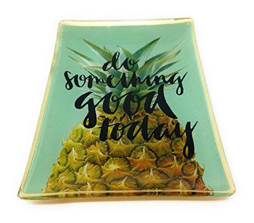 SoulSisters Living Ananas Tablett Grün Porzellan 10x14cm Tapasschale Glasteller Serviertablett Servierplatte Käseplatte Fleischteller Fleischplatte Tablett