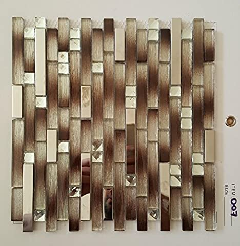 Glass Mosaic Chrome Metal Tile 30 x 30 cm Diamonte Gold Beige Brown For Kitchen/Bathroom/Wall 8mm