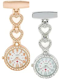 SEWOR Diamond colgante en forma de corazón reloj de bolsillo Rosegold & Sliver 2pcs con marca de piel caja de regalo