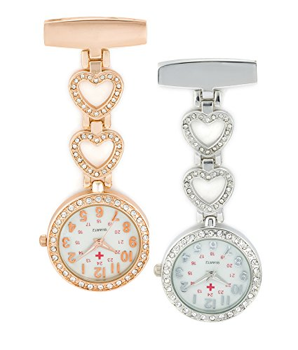 SEWOR Medical Staff Hanging Pocket Watch 2pcs with Leather Box Great Gift (Heart)