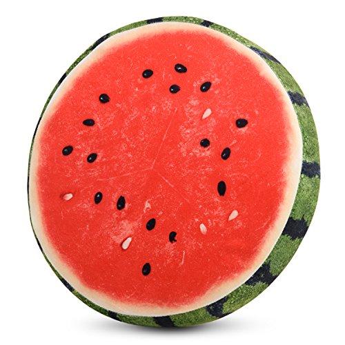 HYSEAS 3D rund fruchkissen Sitzkissen Dekokissen aus Schaumstoff, Wassermelone-Motiv