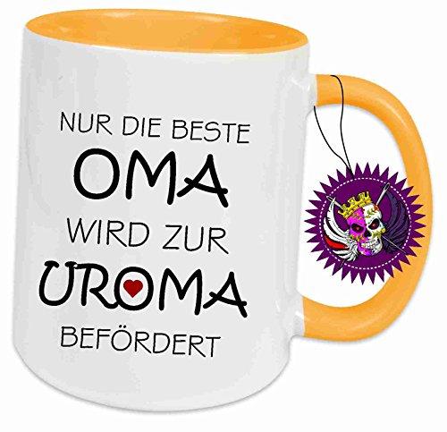 Spruchtasse Funtasse Sonnengelb voll Nur die Beste Oma wird zur Uroma befördert … ' Bedruckte...