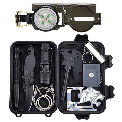 Emergency Survival Kits 11 in 1, Tianer Professionelle Überlebenswerkzeuge Outdoor Survival Gear Kit für Reisen Wandern Biken Klettern Jagd