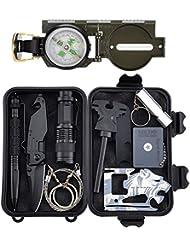 Kits de survie d'urgence 11 en 1, Tianer Outils de survie professionnel Kit de trousse de survie en plein air pour voyager Randonnée Cyclisme Escalade Chasse
