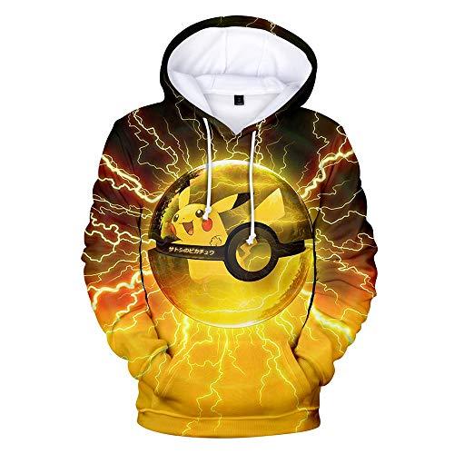 FAKDR Unisex 3D-Druck Anime Hoodie Pokémon Pikachu Pullover Sweatshirt Mit Tunnelzug Und Rundhalsausschnitt Fit, Junge, Mädchen,Teenager, Erwachsener, Kinder Langarm Hoodie Weiches Polyester,Gelb,XS