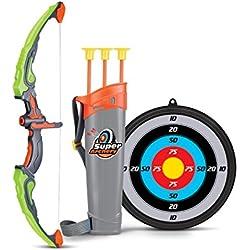 SainSmart Jr. Flecha y Arco Niños Tiro con Arco Juegos con 3Flechas de Tiro, Regalo para niños a Partir de 6años, Color Verde