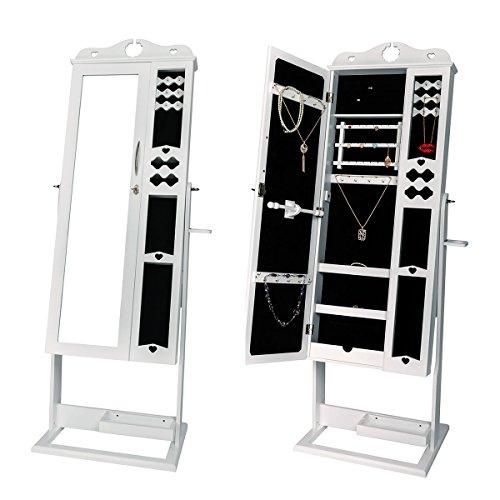 DXP Schmuckschrank Spiegelschrank Standspiegel Weiß 150 x 56 x 44 cm Schmuckkasten mit Spiegel und Fotorahmen Doppeltür Design JCYJ09