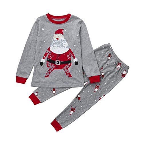 (Kinder-Pyjamas Set,BeautyTop Xmas Infant Baby Kinder Jungen Mädchen Santa Claus Bedruckte Pyjamas Tops + Hosen Weihnachten Home Nachtwäsche Outfits Set (Grau, 5T))