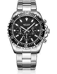 cb932c17418 Megir Quartz Movement Chronograph Black Dial Steel Watch