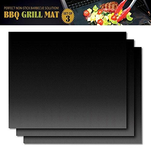 Zuoao Grillmatte (3er Set) zum Grillen und Backen,Antihaft Grill Barbecue Matten für Gas,Kohle,Ofen,Elektrogrill,LFGB und FDA Zulassung,hitzebeständig bis 260°C 15 x 13 Inch Backen-Matte Schwarz