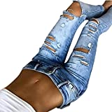 Zarupeng Damen Beiläufige Jeanshose Löcher Dünne Mittlere Taillen Jeans Zerrissen Bleistift Hosen (S, Blau)