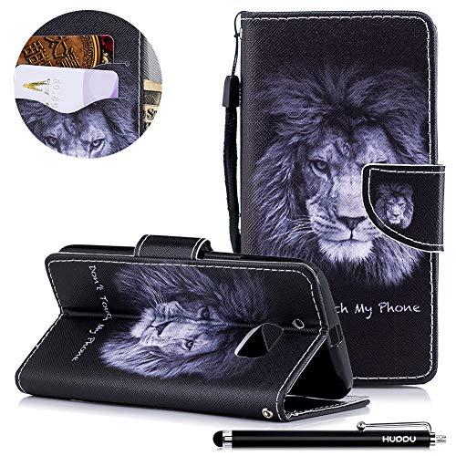 HUDDU Schwarz Lion Handyhülle für HTC 10/one M10 Hülle Flip Wallet Case Kartenfach Magnetverschluss Stand Notebook Schutz Lederhülle Handy Cover Schutzhülle Tasche Leder Klapphülle Bunt Muster