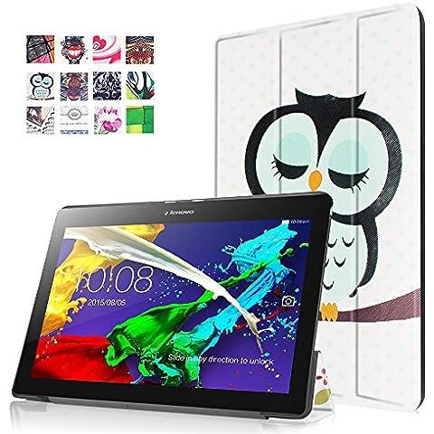 Lenovo Tab 2 A10-30 Funda, FEING Tableta Funda Estuche protector PU Carcasa Cáscara para Lenovo Tab 2 A10-30 10 Pulgada, con Gratis stylus universales, CHTAB 014