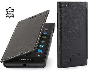 StilGut Book Type sans clip, housse en cuir pour BlackBerry Leap, en noir