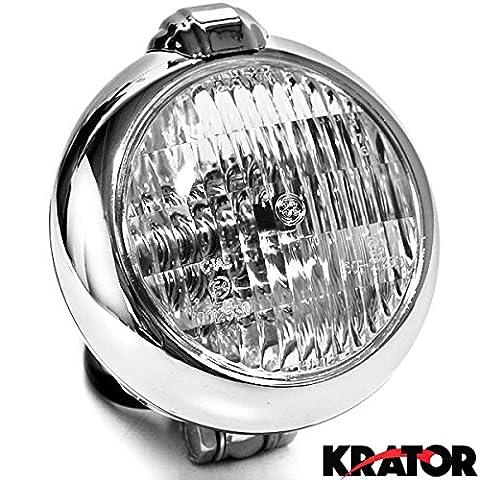 Krator® Chrome Headlight Head Light Visor Fits Harley Choppers Cruisers High & Low Beam Harley, Honda, Yamaha, Suzuki, Kawasaki, Custom Bike, Cruiser,