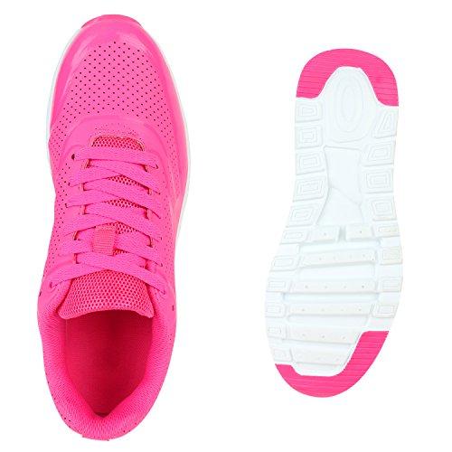 Damen Herren Unisex Sportschuhe Laufschuhe Runners Sneakers Schnürer Neonpink Avelar