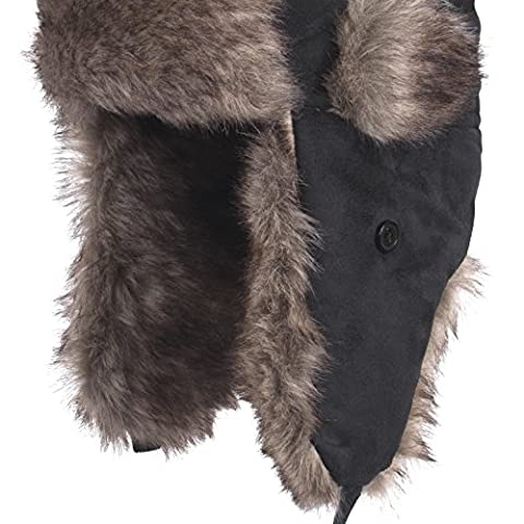 FLADEN Authentic Wear - Trapper Hat for Thermal Winter Warmth with Faux Fur Brow Trim - With Popper Fastner Chin Strap and Ear Flaps (Black, Small) [22-930B-S]