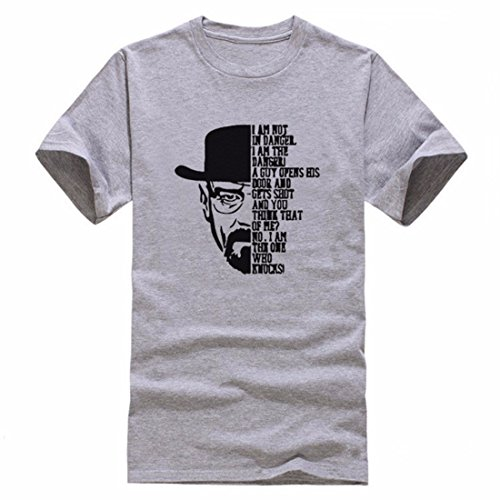 Men's Breaking Bad Printed Short Sleeve O Neck Cotton Tee Shirt gray