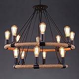HELIn Loft Vintage-Seil Deckenleuchte Antik Retro Pendelleuchte 14 Flammige Disign Lampe Hängeleuchte