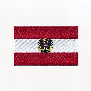 60 x 35 mm Österreich Flagge + Adler Austria Flag Wien Aufnäher Aufbügler 0949 B