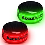 AccuBuddy, fascia per braccio a LED luminoso e brillante per una maggiore sicurezza durante la corsa o il ciclismo, set da 2, Set of 2: Green + Red