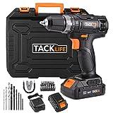 TackLife PCD05B Taladro Atornillador 18 V con 2 baterías de Litio (2.0Ah), 2 Velocidades con 19 + 1 Posiciones par Max 30 N.M, Carga Rapida de 1 hora,