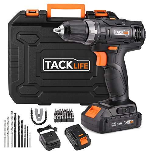 TackLife PCD05B Taladro Atornillador 18 V con 2 baterías de Litio 2.0Ah, 2 Velocidades con 19 + 1...