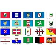 Bandiera Regionale a scelta 150x100 cm in tessuto nautico antivento da 115g/m²,bandiera regionale italiana 150x100 lavabile,bandiera 150x100 con occhielli,cucitura perimetrale e fettuccia di rinforzo