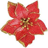 iBaste_top Ventana Durante 8 Piezas Purpurina Flor Artificial De Árbol De Navidad, Adornos Del Árbol De Navidad