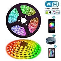 Alexa Led Strip Lights, Uzone 5m WiFi Led Light Strip 5050 RGB Voice Control Waterproof Compatible with Alexa Echo, Google Home, with Controller and Power Adapter, Decoration for Home Garden Bar