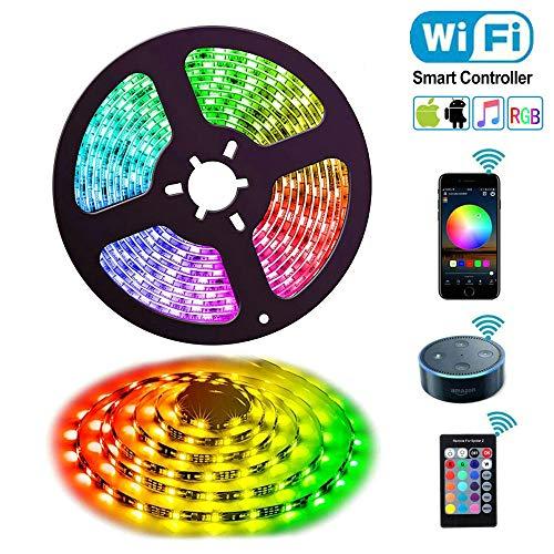 Ruban à LED, Uzone 5M Led Bandes Lumières WiFi Smart Light Strip Etanche 5050 RGB Commande...