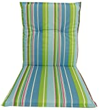 Garden chair cushion seating pad for low back chairs in light-blue green turquoise