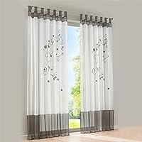 Souarts - Cortinas bordadas ideales para el salón o el dormitorio, gris, 140x225cm