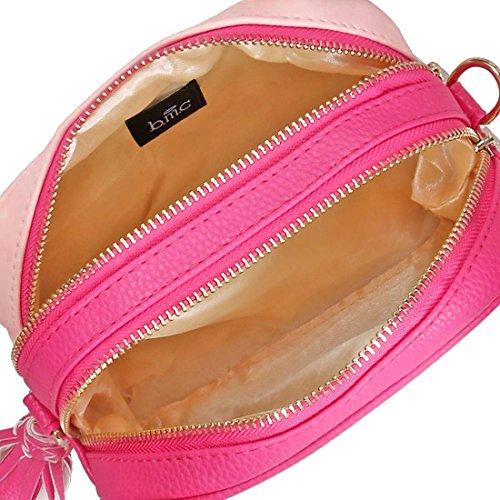 BMC Donna Simil Pelle Doppia Texture Multicolore Doppio Compartimento Pochette Fucsia + Gomma Da Masticare