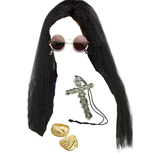 Blue Planet Online–Ozzy-Perücke, schwarz, lang, Brille, Kreuz-Halskette & 2Gold-Ringe, (Ozzy Osbourne Kostüme)