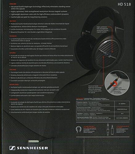 Sennheiser HD518 Cuffia Stereofonica Hi-Fi con Dinamica Aperta, Circumaurale