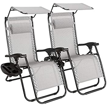 Pool Camping Furgle Sun Lounger Set of 2 Outdoor Zero Gravity Chair XL Garden Folding Lounge Recliner Chair Oversized Lawn Chair with Cup Holder Trays for Patio Beach Grey
