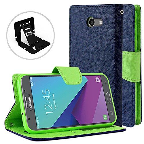 Galaxy J3Emerge Wallet Fall, REDShield [blau] Luxus Faux Saffiano-Leder vorne Flip Cover mit integrierter Kartenfächer, Magnetverschluss für Samsung Galaxy J3Emerge mit Travel Wallet Handy Ständer -