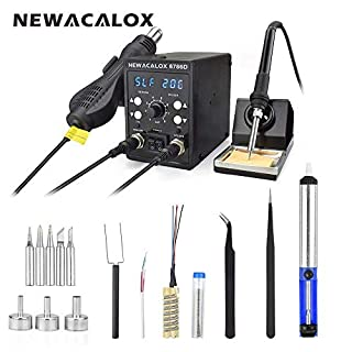 Soldering Iron Station,NEWACALOX 60W 2 in 1 SMD Rework Station with Hot Air Gun,Temperature Control Welding Station,Airflow Adjustable Desoldering Station with LED Display